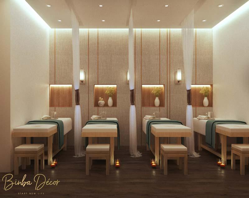 nội thất gỗ trong spa