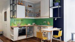 Tủ bếp chữ L màu trắng cánh phẳng tạo độ thông thoáng nhất định cho không gian nấu nướng trong căn hộ hiện đại.