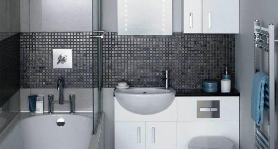 Trong nhà vệ sinh bồn rửa mặt và bệ xí là hai thứ có thể chọn loại nhỏ nhằm tiết kiệm không gian. Bồn rửa tay có thể dùng loại treo gắn vào tường, không nhất định phải có tủ cầu kỳ.