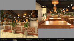 Không gian nhà hàng ăn uốn gần gũi, mộc mạc