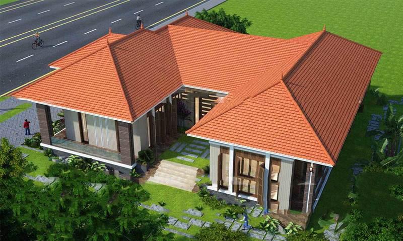 Thiết kế nhà theo hình chữ U giúp dễ dàng phân chia khu vực của các phòng chức năng.