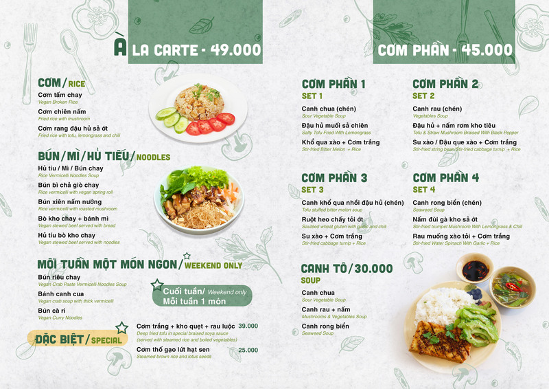 Thực đơn phong phú với giá cả phải chăng là một điểm cộng dành cho quán cơm của bạn